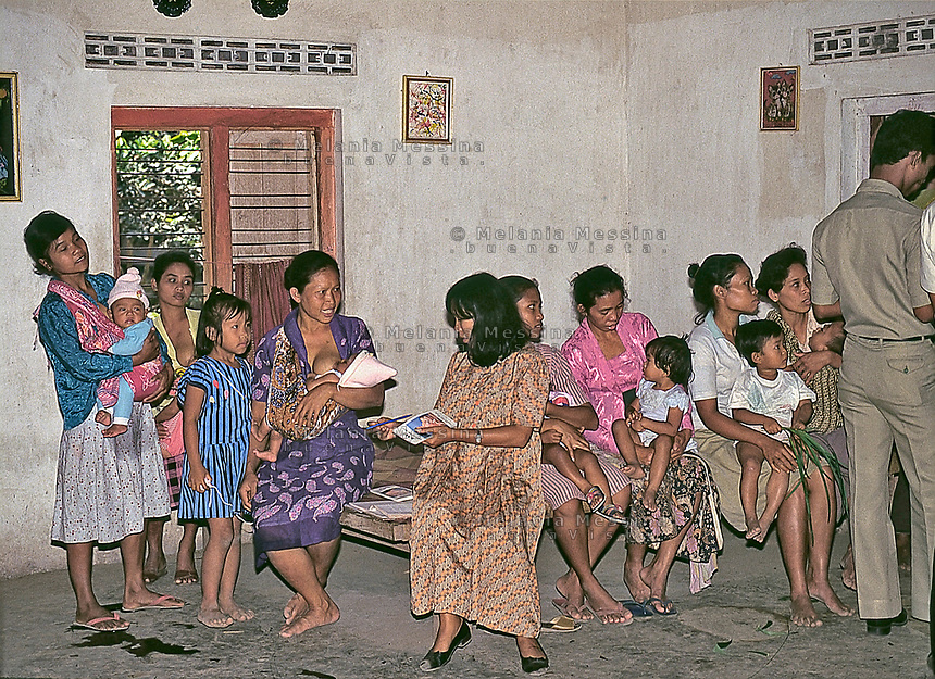 Indonesia; Java, mothers and children during the posyandu (training program for the health of children).<br />