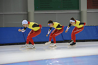 SCHAATSEN: SALT LAKE CITY: Utah Olympic Oval, 12-11-2013, Essent ISU World Cup, training, Wannes van Praet (BEL), Maarten Swings (BEL), Ferre Spruyt (BEL), ©foto Martin de Jong