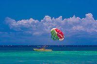Parasailing, Caribbean Sea, Riviera Maya, Quintana Roo, Mexico