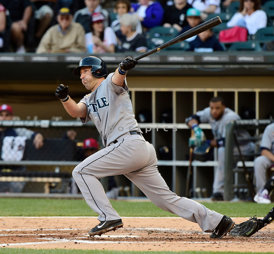 Seattle Mariners Willie Bloomquist (8) during a game against the Chicago White Sox on July 4, 2014 at US Cellular Field in Chicago, IL. The Sox beat the Mariners 7-1.
