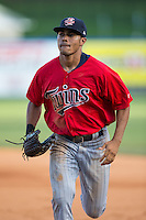 Elizabethton Twins center fielder LaMonte Wade (26) jogs off the field between innings of the game against the Kingsport Mets at Hunter Wright Stadium on July 9, 2015 in Kingsport, Tennessee.  The Twins defeated the Mets 9-7 in 11 innings. (Brian Westerholt/Four Seam Images)