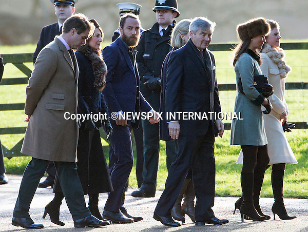 10.01.2016; Sandringham, England: KATE MIDDLETON AND FAMILY JOIN ROYALS AT CHURCH SERVICE<br />The entire Middleton Family - Kate, Pippa, James, mother Carole and father Michael joined Queen Elizabeth, the Duke of Edinburgh and Prince William for the church service at St Mary Magdalene Church on the Sandringham Estate.<br />Today also marked the 100th anniversary of the end of the doomed First World War Gallipoli campaign, which saw 58,000 Allied troops lose their lives.<br />The Queen and Duke of Edinburgh were joined by the Duke and Duchess of Cambridge when they laid wreaths marking the occasion at the Sandringham war memorial cross.<br />Mandatory Credit Photo: &copy;NEWSPIX INTERNATIONAL<br /><br />(Failure to credit will incur a surcharge of 100% of reproduction fees)<br />IMMEDIATE CONFIRMATION OF USAGE REQUIRED:<br />Newspix International, 31 Chinnery Hill, Bishop's Stortford, ENGLAND CM23 3PS<br />Tel:+441279 324672  ; Fax: +441279656877<br />Mobile:  07775681153<br />e-mail: info@newspixinternational.co.uk<br />Please refer to usage terms. All Fees Payable To Newspix International