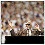 "Ray Charles performs ""America the Beautiful"" at home plate in Game 2 of the 2001 World Series at BankOne ballpark"