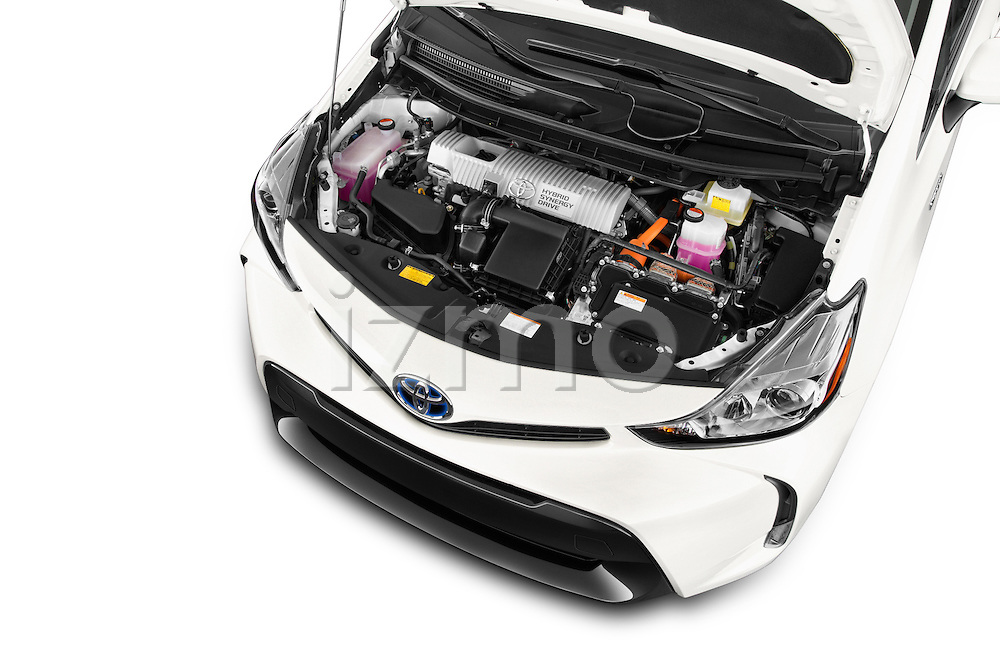 Car stock 2015 Toyota Prius V Four 5 Door MPV engine high angle detail view