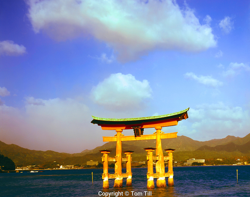 The Floating Torii, Miyajima Island, Japan Symbol of Japan built in 1875, MOuntains and Inland Sea beyond