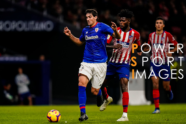 Mikel San Jose Dominguez of Athletic de Bilbao (L) in action during the La Liga 2018-19 match between Atletico de Madrid and Athletic de Bilbao at Wanda Metropolitano, on November 10 2018 in Madrid, Spain. Photo by Diego Gouto / Power Sport Images