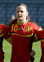 20140410 - BRUSSELS , BELGIUM : Belgian Elke Van Gorp pictured during the female soccer match between BELGIUM U19 and GERMANY U19 , in the third and final game of the Elite round in group 4 in the UEFA European Women's Under 19 competition 2014 in the Koning Boudewijn Stadion , Thursday 10 April 2014 in Brussels . PHOTO DAVID CATRY