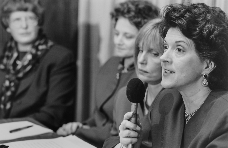 Joan Claybrook (President of Public Citizen) Becky Cain (President of the League of Women Voters), Ann McBride (Common Cause employee) and Rep. Linda Smith, R-Wash., discussing discharge petition on Council on Foreign Relations on March 12, 1996. (Photo by Maureen Keating/CQ Roll Call)