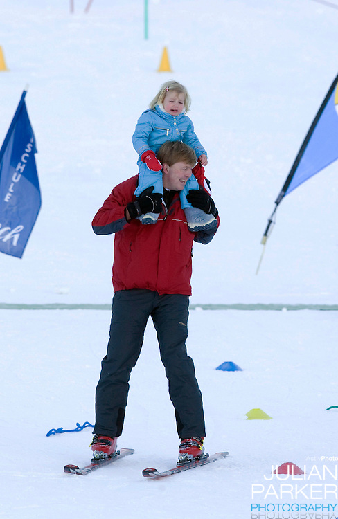 Crown Prince Willem Alexander of Holland with Daughter Princess Alexia, attend a Photocall with Members of The Dutch Royal Family during their Winter Ski Holiday in Lech Austria