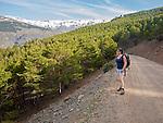Woman walking in the Sierra Nevada Mountains in the High Alpujarras, near Capileira, Granada Province, Spain