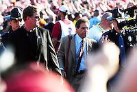 Jan 7, 2010; Pasadena, CA, USA; Alabama Crimson Tide coach Nick Saban arrives for the 2010 BCS national championship game against the Texas Longhorns at the Rose Bowl.  Mandatory Credit: Mark J. Rebilas-