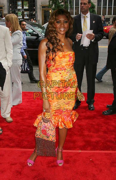 "TARAJI HENSON.World Premiere of ""Four Brothers"",.Clearview's Chelsea West Cinemas..New York City, 9th August 2005.full length red carpet silver diamond diamante necklace orange red yellow strapless dress cleavage pink open toe sandals shoes handbag tassels.www.capitalpictures.com.sales@capitalpictures.com.©Capital Pictures"