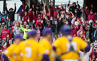 NWA Democrat-Gazette/BEN GOFF @NWABENGOFF<br /> Arkansas fans call the hogs as Paul Mainieri, LSU head coahc, visits the mound in the 6th inning Saturday, May 11, 2019, at Baum-Walker Stadium in Fayetteville.