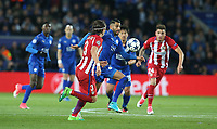 Leicester City's Riyad Mahrez and Atletico Madrid's Filipe Luis<br /> <br /> Photographer Stephen White/CameraSport<br /> <br /> UEFA Champions League Quarter Final Second Leg - Leicester City v Atletico Madrid - Tuesday 18th April 2017 - King Power Stadium - Leicester <br />  <br /> World Copyright &copy; 2017 CameraSport. All rights reserved. 43 Linden Ave. Countesthorpe. Leicester. England. LE8 5PG - Tel: +44 (0) 116 277 4147 - admin@camerasport.com - www.camerasport.com