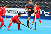 Netherlands Bob de Voogd tries to block a shot from Fenghui Lu of China during the Hockey World League Quarter-Final match between Netherlands and China at the Olympic Park, London, England on 22 June 2017. Photo by Steve McCarthy.<br /> <br /> Netherlands v China at the Olympic Park, London, England on 22 June 2017. Photo by Steve McCarthy.