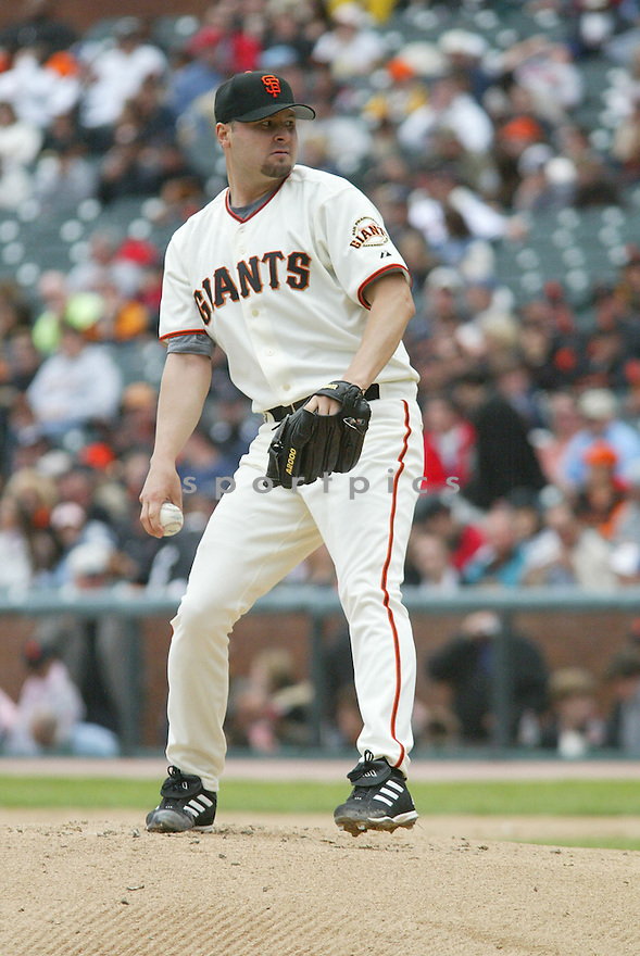 Jason Schmidt, of the San Francisco Giants in action against the Altanta Braves In San Francisco on April 9. 2006..Giants win 6-5..Rob Holt / SportPics..