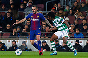 5th December 2017, Camp Nou, Barcelona, Spain; UEFA Champions League football, FC Barcelona versus Sporting Lisbon; Paco Alcacer of FC Barcelona dribbles past the defense