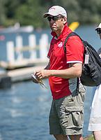 Henley. Berks, United Kingdom. <br /> <br /> Ohio State Coach, Mark WILLIAMS. 2017 Henley' Women's Regatta. Rowing on, Henley Reach. River Thames. <br /> <br /> <br /> Saturday  17/06/2017<br /> <br /> <br /> [Mandatory Credit Peter SPURRIER/Intersport Images]