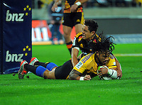 Ma'a Nonu scores the first try during the Super Rugby match between the Hurricanes and Chiefs at Westpac Stadium, Wellington, New Zealand on Saturday, 16 May 2015. Photo: Dave Lintott / lintottphoto.co.nz