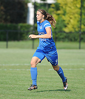 20160827 - ZWEVEZELE , BELGIUM : Genk's Hanne Merkelbach pictured during the soccer match  in the 2nd round of the  Belgian cup 2017 , a soccer women game between SK Voorwaarts Zwevezele and RC Genk Ladies  , in Zwevezele , saturday 27 th August 2016 . PHOTO SPORTPIX.BE / DIRK VUYLSTEKE