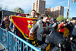 FC Barcelona supporters pass the security zone before match between Atletico de Madrid and FC Barcelona Champions League 2015/2016 Quarter-Finals 2nd leg match. April 13, 2016. (ALTERPHOTOS/BorjaB.Hojas)