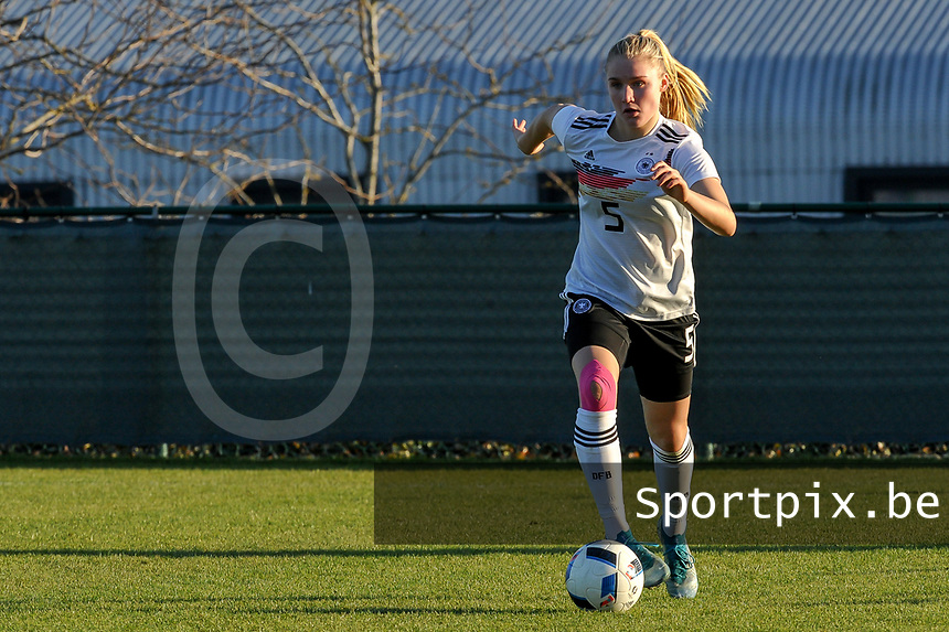 20191204 - TUBEKE , BELGIUM : German (5) Jella Veit pictured during the international friendly female soccer game between the Belgian Flames U15 and Germany , Wednesday 4 th December 2019 at the Belgian Football Centre, Tubeke / Tubize , Belgium. PHOTO SPORTPIX.BE | STIJN AUDOOREN