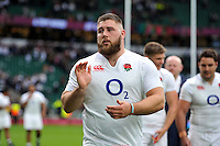 Kieran Brookes of England acknowledges the crowd after the match. QBE International match between England and Ireland on September 5, 2015 at Twickenham Stadium in London, England. Photo by: Patrick Khachfe / Onside Images