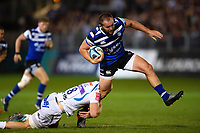 Tom Dunn of Bath Rugby takes on the Exeter Chiefs defence. Gallagher Premiership match, between Bath Rugby and Exeter Chiefs on October 5, 2018 at the Recreation Ground in Bath, England. Photo by: Patrick Khachfe / Onside Images