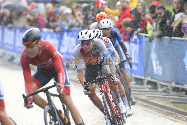 Stefan Bissegger (SUI) in the lead group in wet conditions on the Harrogate circuit during the Men U23 Road Race of the UCI World Championships 2019 running 186.9km from Doncaster to Harrogate, England. 27th September 2019.<br /> Picture: Eoin Clarke | Cyclefile<br /> <br /> All photos usage must carry mandatory copyright credit (© Cyclefile | Eoin Clarke)