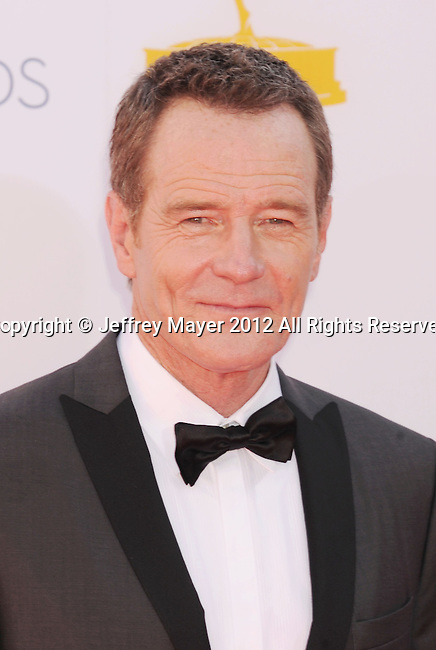LOS ANGELES, CA - SEPTEMBER 23: Bryan Cranston arrives at the 64th Primetime Emmy Awards at Nokia Theatre L.A. Live on September 23, 2012 in Los Angeles, California.