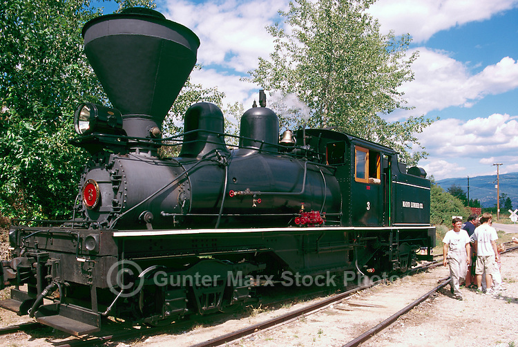 Restored 1924 Shay Steam Locomotive on Historic Kettle Valley Steam Railway, near Summerland, South Okanagan Valley, BC, British Columbia, Canada -