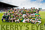 Kerry players celebrate after defeating Cork in the Munster Minor Football Final in Fitzgerald Stadium, Killarney on Sunday last.