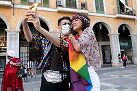PALMA DE MALLORCA, SPAIN – JUNE 28: Protesters claims the rights of the LGTB+ community respecting the safety distances as a result of the COVID-19 crisis on June 28, 2020 in Palma de Majorca, Spain. LGBT+ community from Balearic Islands are celebrating the 51st anniversary of the Stonewall Riots. (Photo by Joan Amengual / VIEWpress via Getty Images).
