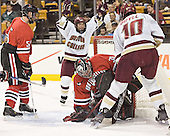 Brian Deeth, Stephen Gionta, Doug Jewer, Brian Boyle - The Boston College Eagles defeated the Northeastern University Huskies 5-2 in the opening game of the 2006 Beanpot at TD Banknorth Garden in Boston, MA, on February 6, 2006.