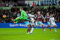 Adrian of West Ham United clears the ball during the Barclays Premier League match between Swansea City and West Ham United played at the Liberty Stadium, Swansea  on December 20th 2015