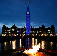 The Peace Tower on Parliament Hill in Ottawa is lit with blue lights as part of World Diabetes Day on Wednesday Nov 14, 2007. .The Canadian Press/Sean Kilpatrick...