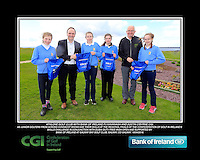 Athlone Girls with PJ Kavanagh from Bank of Ireland and Justin O'Byrne from CGI.<br /> Junior golfers from across connacht practicing their skills at the regional finals of the Dubai Duty Free Irish Open Skills Challenge supported by Bank of Ireland at Galway Bay golf club, Galway, Co Galway. 2/04/2016.<br /> Picture: Golffile | Fran Caffrey<br /> <br /> <br /> All photo usage must carry mandatory copyright credit (© Golffile | Fran Caffrey)