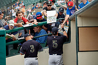 Scranton/Wilkes-Barre RailRiders Thairo Estrada (3) and Logan Morrison (5) sign autographs before an International League game against the Rochester Red Wings on June 24, 2019 at Frontier Field in Rochester, New York.  Rochester defeated Scranton 8-6.  (Mike Janes/Four Seam Images)