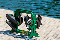 Lucerne, SWITZERLAND, 12th July 2018, Friday  FISA World Cup series, No.3, Lake Rotsee, Lucerne, Oar/Blade carrier being used to collect shoes/trainers,