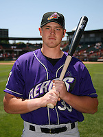 May 30, 2009:  Outfielder Nick Weglarz of the Akron Aeros poses for a photo before a game at Jerry Uht Park in Erie, NY.  The Aeros are the Eastern League Double-A affiliate of the Cleveland Indians.  Photo by:  Mike Janes/Four Seam Images