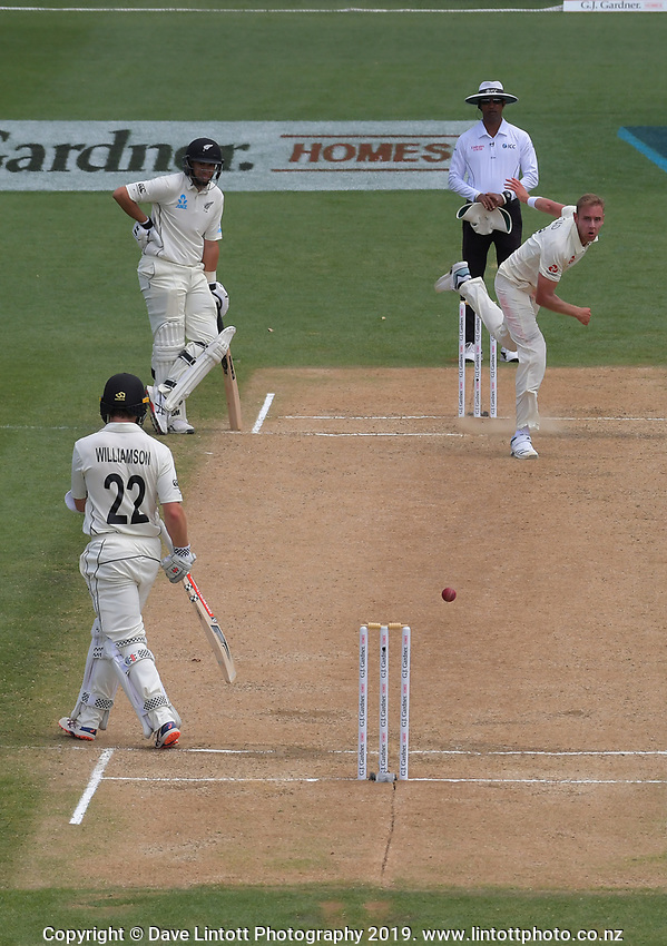 England's Stuart Broad bowls as NZ captain Kane Williamson steps off the wicket during day five of the international cricket 2nd test match between NZ Black Caps and England at Seddon Park in Hamilton, New Zealand on Tuesday, 3 December 2019. Photo: Dave Lintott / lintottphoto.co.nz