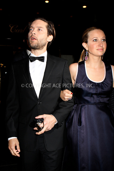 WWW.ACEPIXS.COM . . . . .  ....May 7 2012, New York City....Tobey Maguire and Jennifer Meyer leave a hotel on the way to the Met Gala on May 7 2012 in New York City....Please byline: NANCY RIVERA- ACEPIXS.COM.... *** ***..Ace Pictures, Inc:  ..Tel: 646 769 0430..e-mail: info@acepixs.com..web: http://www.acepixs.com