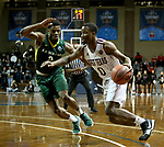 SIOUX FALLS, SD - MARCH 20: Drew Evans #0 from West Texas A&M tries to get a step past Tyquan Rolon #2 from Le Moyne during their quarterfinal game at the 2018 Elite Eight Men's NCAA DII Basketball Championship at the Sanford Pentagon in Sioux Falls, SD. (Photo by Dave Eggen/Inertia)