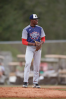 Gaberial Starks (45) during the WWBA World Championship at the Roger Dean Complex on October 11, 2019 in Jupiter, Florida.  Gaberial Starks attends Watson Chapel High School in Pine Bluff, AR and is committed to Arkansas.  (Mike Janes/Four Seam Images)