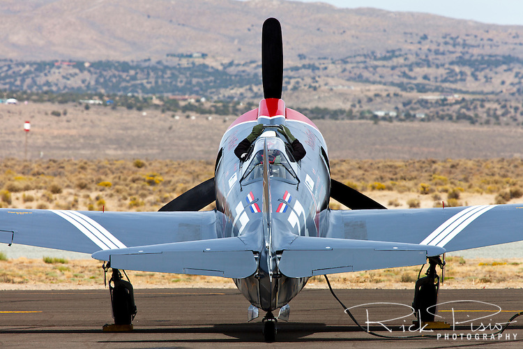 Steadfast, a Russion designed Yak 3U, waits for the signal to start engines prior to a race at the Reno National Championship Air Races
