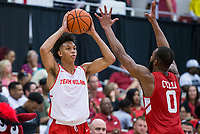 NWA Democrat-Gazette/BEN GOFF @NWABENGOFF<br /> Ethan Henderson (left) tries to inbound the ball as Jeantal Cylla, Arkansas forward, defends in the second half Saturday, Oct. 5, 2019, during the annual Arkansas Red-White Game at Barnhill Arena in Fayetteville.