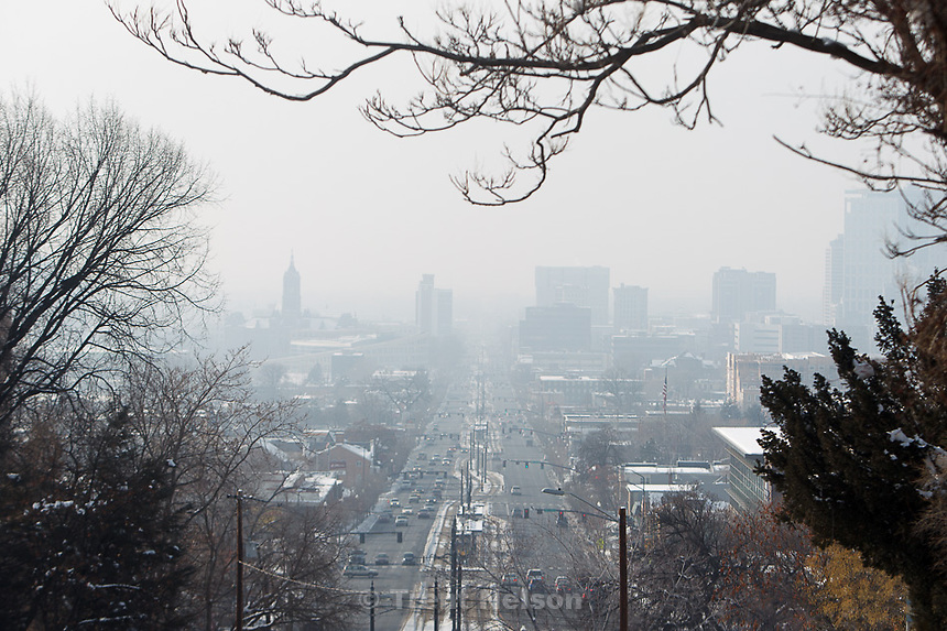 Trent Nelson  |  The Salt Lake Tribune.The layer of haze over Salt Lake City, seen from 400 South and 1100 East on Wednesday, January 23, 2013.
