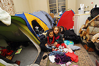 Idomeni / Greece 04042016<br /> Familiy of refugees living inside abandoned railway station in Idomeni.<br /> Photo Livio Senigalliesi