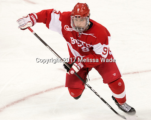 Kieffer Bellows (BU - 9) - The visiting Boston University Terriers defeated the Boston College Eagles 3-0 on Monday, January 16, 2017, at Kelley Rink in Conte Forum in Chestnut Hill, Massachusetts.