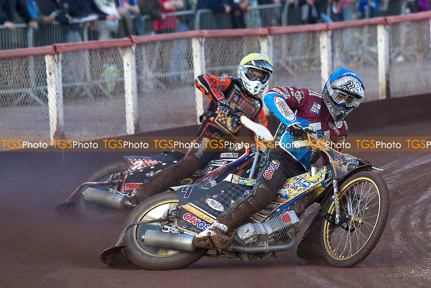 Kim Nilsson of Lakeside Hammers holds off Tyron Procter of Wolverhampton Wolves - Lakeside Hammers vs Wolverhampton Wolves - Sky Sports Elite League Speedway at Arena Essex Raceway, Purfleet - 20/07/12 - MANDATORY CREDIT: Ray Lawrence/TGSPHOTO - Self billing applies where appropriate - 0845 094 6026 - contact@tgsphoto.co.uk - NO UNPAID USE.